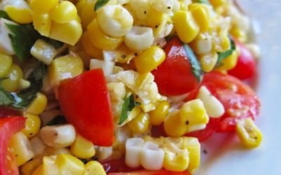 Roasted Corn and Tomato Salad with Jalapeno Vinaigrette